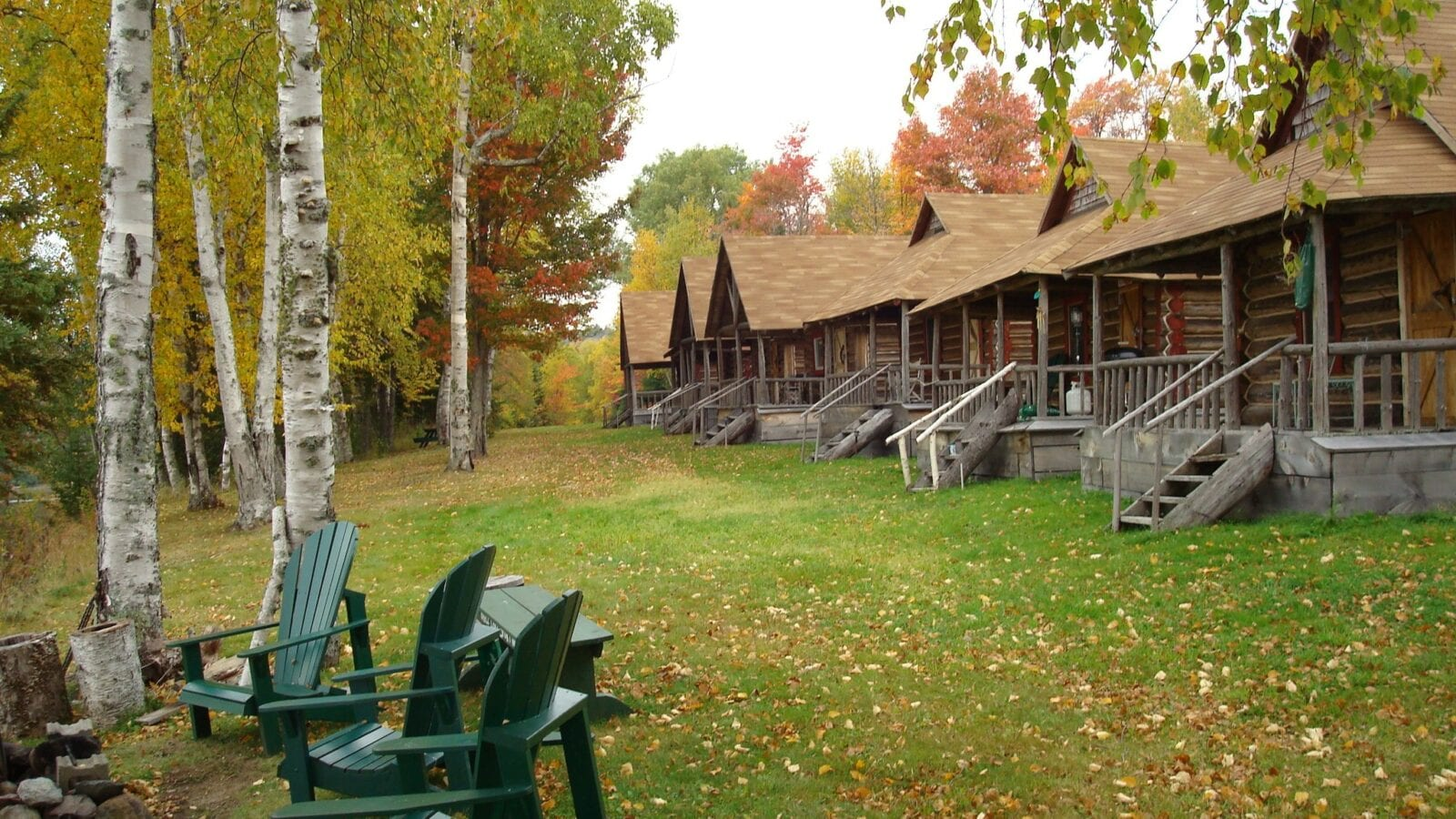 photo of six cabins in forest and outdoor seating area in autumn