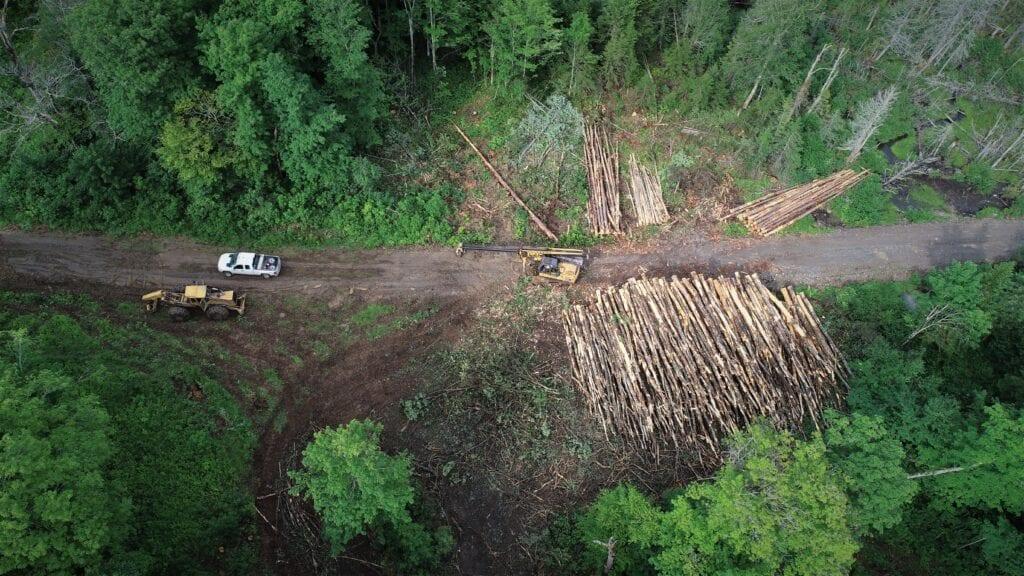 aerial photo of heavy equipment logging