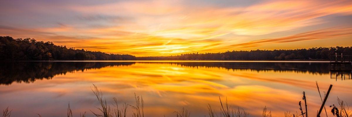 photo of dramatic sunset on Lake